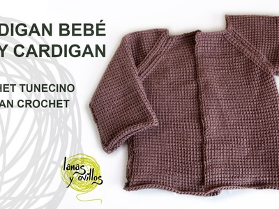 Tutorial Cárdigan Bebé Crochet o Ganchillo Tunecino