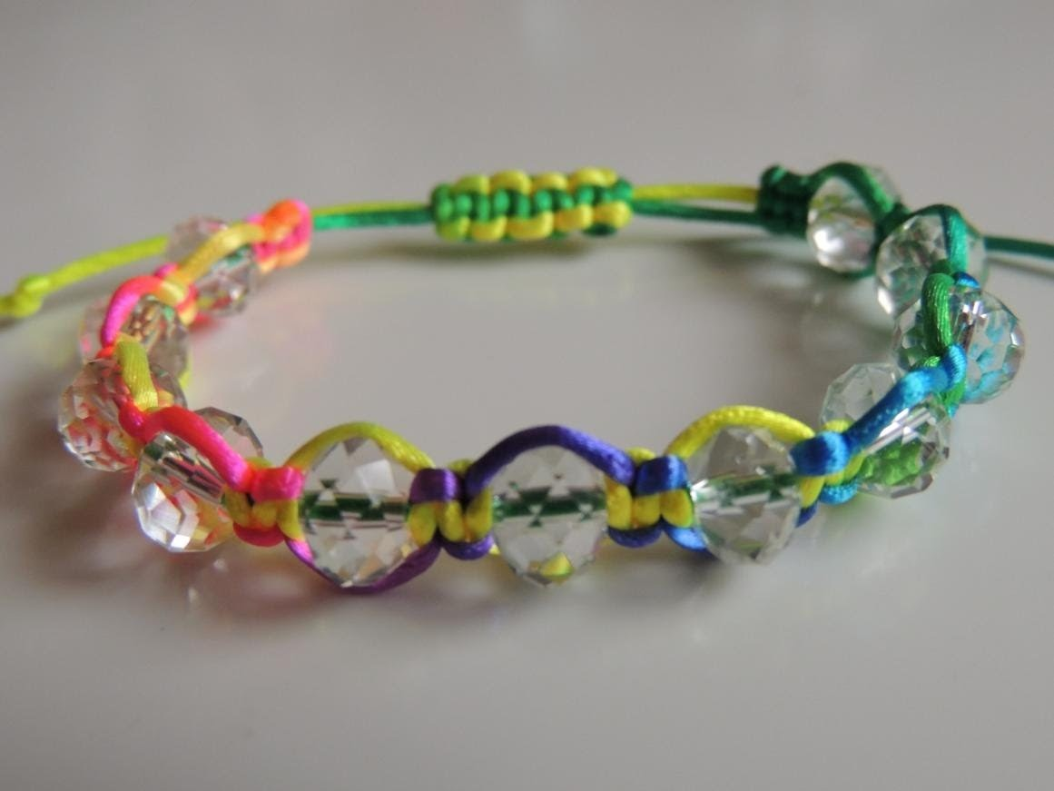 Tutorial DIY Pulsera Fluor con facetadas de cristal con nudo ajustable. Bracelet fluor beads.