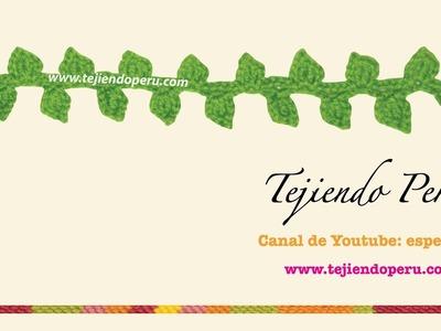 Cenefa para aplicar tejida en crochet # 3 (Hojitas!)