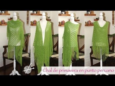 Chal de primavera tejido en palitos en punto peruano. Knitted spring shawl (broomstick lace stitch)