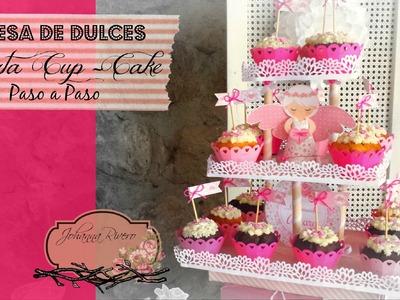 Como Decorar Mesa de dulces Scrapbook, Porta CUP CAKE  Paso a Paso