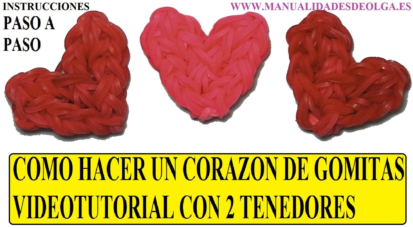 COMO HACER UN CORAZÓN DE GOMITAS CON DOS TENEDORES TUTORIAL DIY SIN TELAR RAINBOW LOOM