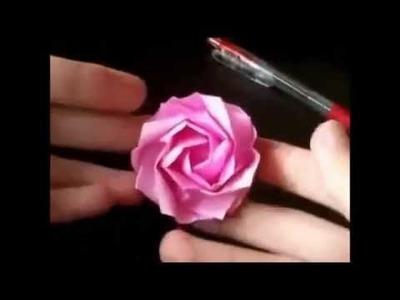Como hacer una rosa de papel origami paso a paso