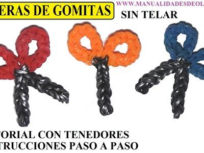 COMO HACER UNA TIJERAS DE GOMITAS SIN TELAR CON TENEDORES. TUTORIAL DIY