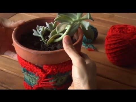 Cómo tejer un cubre macetas en croché : Técnicas de crochet