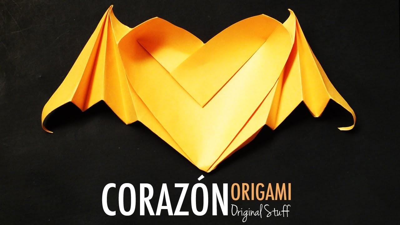 Corazón con alas de murciélago [Origami] - Original Stuff