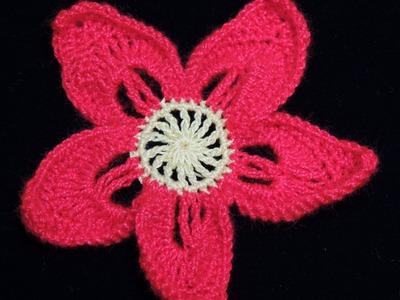 Crochet : Flor de Navidad.  Parte 1 de 2