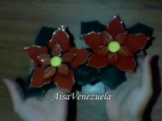 DIY: flores de navidad o navideñas noche buenas en foami manualidades de navidad