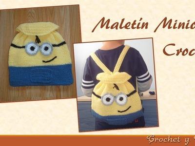 Mochila - Maletín Minion tejido a Crochet