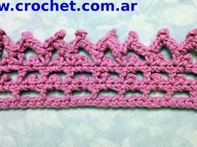 Puntilla N° 39 en tejido crochet tutorial paso a paso.