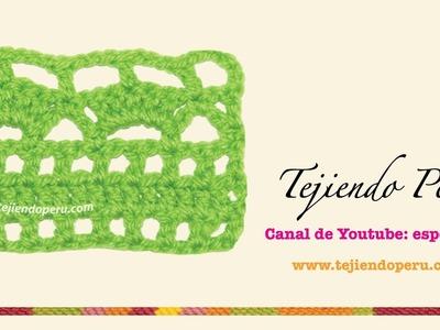 Punto fantasía # 38 tejido a crochet: conchitas y arcos