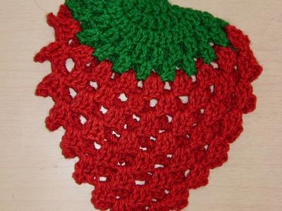 Tutorial de crochet agarradera con forma de Fresa 2 de 3