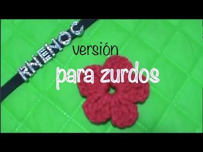 ZURDOS, como tejer FLOR SIMPLE moño, alas, trébol ganchillo crochet