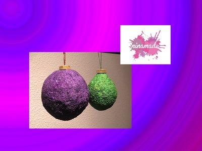 Adornos navideños: Bolas de Navidad (papel maché,sal y arena)