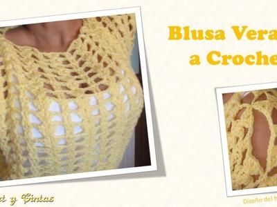 Blusa verano de abanicos a crochet