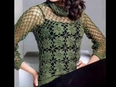 Blusa Verde Motivos Cuadros Calados Cuello Red a Crochet