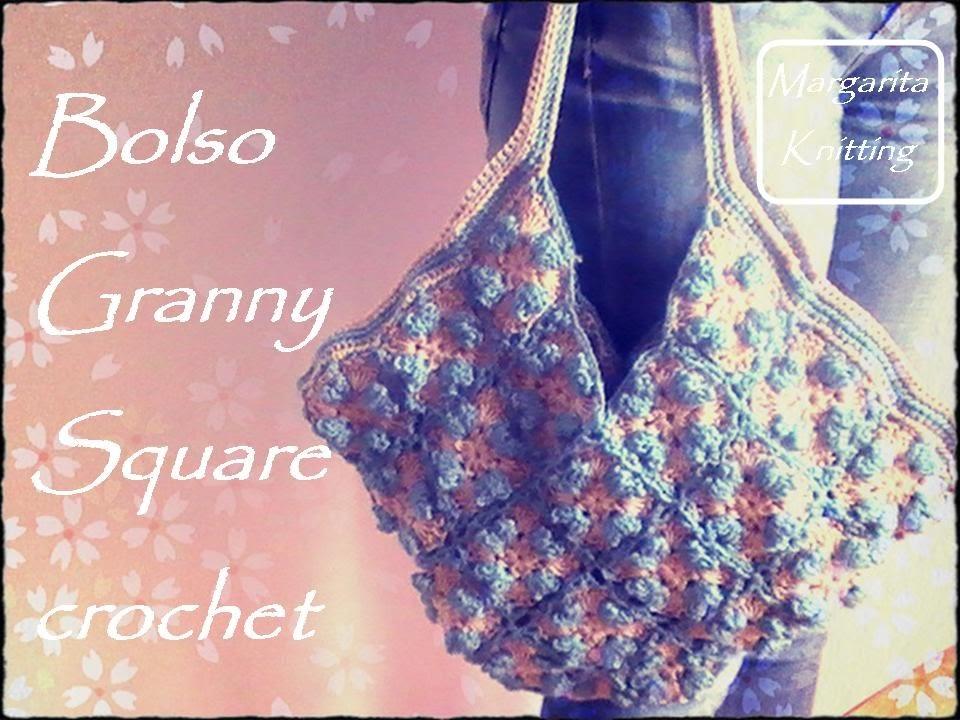Bolso con grannys square a crochet (zurdo)