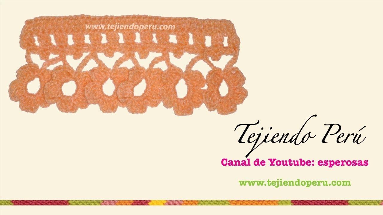 Borde tejido a crochet  # 4: flores!