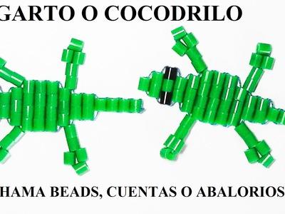 Como hacer un cocodrilo o lagarto con hama beads, cuentas o abalorios articulado, sin planchar.