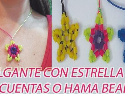 Como hacer un colgante con forma de estrella con cuentas o perlitas de hama beads e hilo