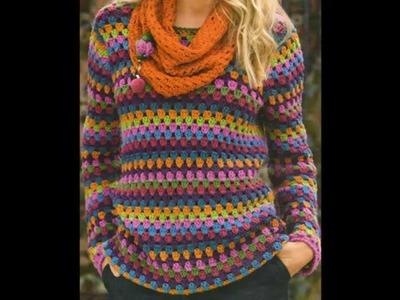 Como Tejer Jersey multicolor para principiantes a crochet