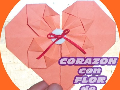 Corazon de origami con flor. DECO