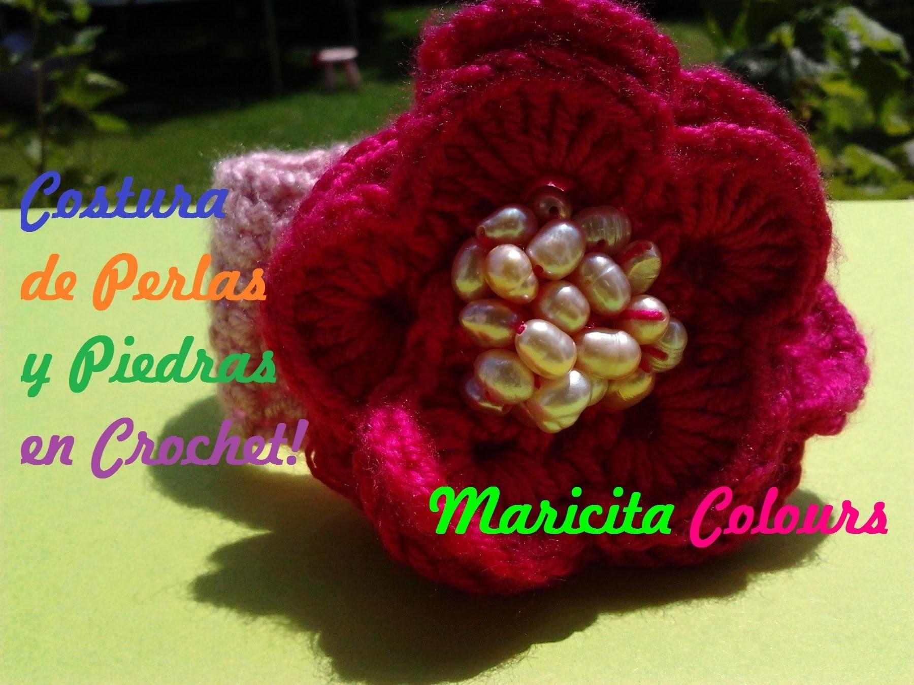 Crochet Tutorial Costura de Piedras.cuentas.Perlas a tejidos - Sew beads - Nähen Perlen Häkeln