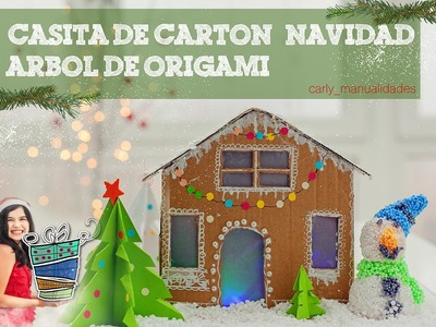 DIY Decoración de Navidad. Casita de cartón con luzArbol de origami
