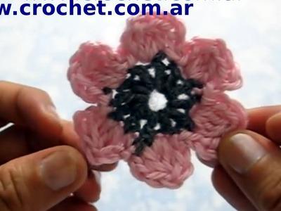 Flor N° 10 en tejido crochet tutorial paso a paso.