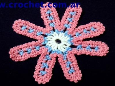 Flor Nº 8 en tejido crochet tutorial paso a paso.