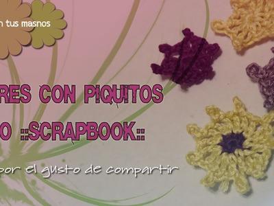 Flores a crochet (accesorios para scrapbook)