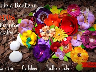Flores con Foami o Goma eva, Cartulina y Tela, Haz tus propios Adornos Scrapbook GRATIS
