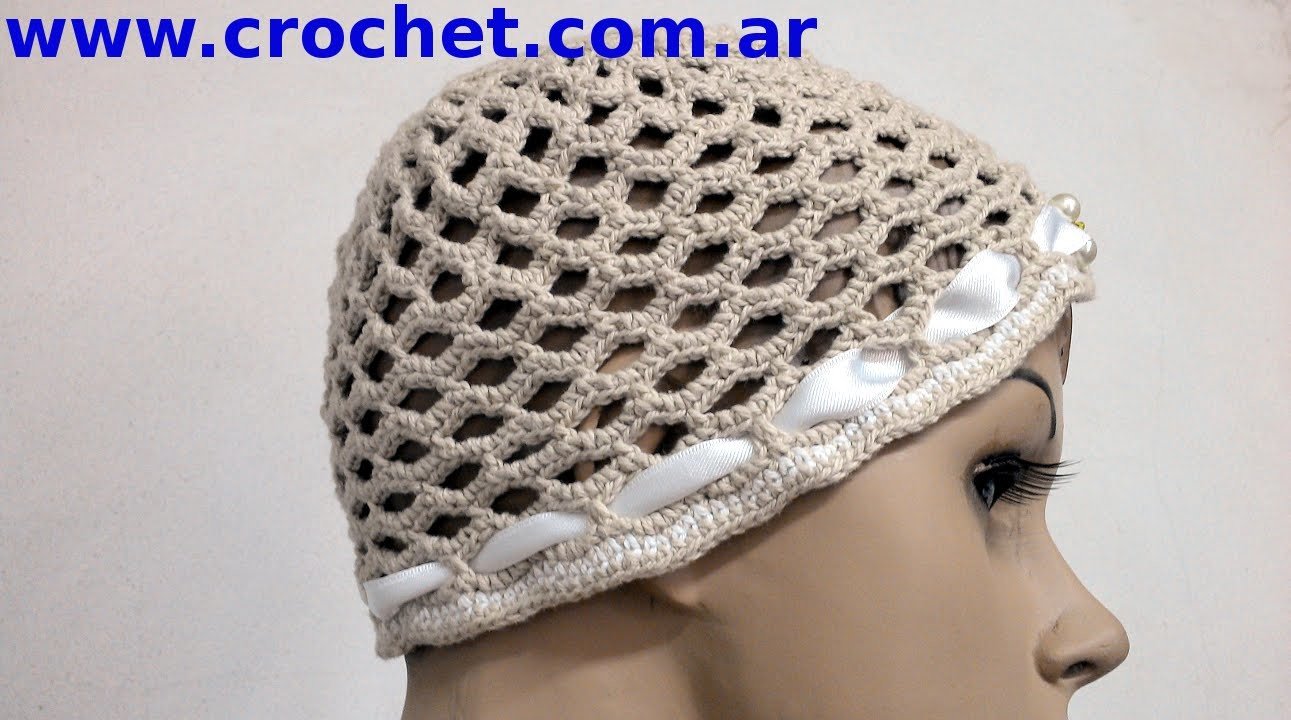 Gorro calado para dama en tejido crochet tutorial paso a paso.