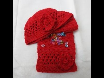 Gorro con flor de crochet  1 parte aumentos