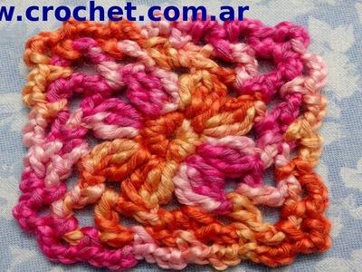 Motivo cuadrado granny square N° 2 en tejido crochet tutorial paso a paso.