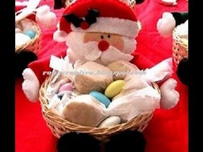 (Navidad) COMO HACER DULCEROS NAVIDEÑOS DE PAPA NOEL. SANTA CLAUS CANDY DISH DIY