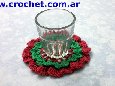 Posa Vaso Navidad en tejido crochet tutorial paso a paso.
