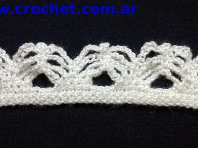 Puntilla N° 32 en tejido crochet tutorial paso a paso.