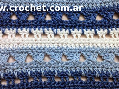 Punto Fantasía N° 17 en tejido crochet tutorial paso a paso.