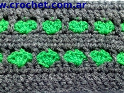 Punto fantasía N° 2 en tejido crochet tutorial paso a paso.