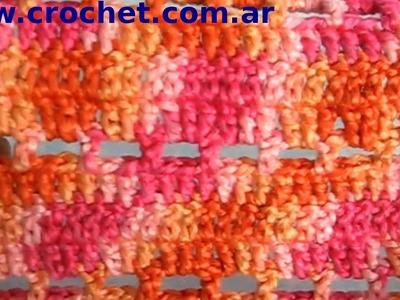 Punto fantasia N° 63 en tejido crochet tutorial paso a paso.