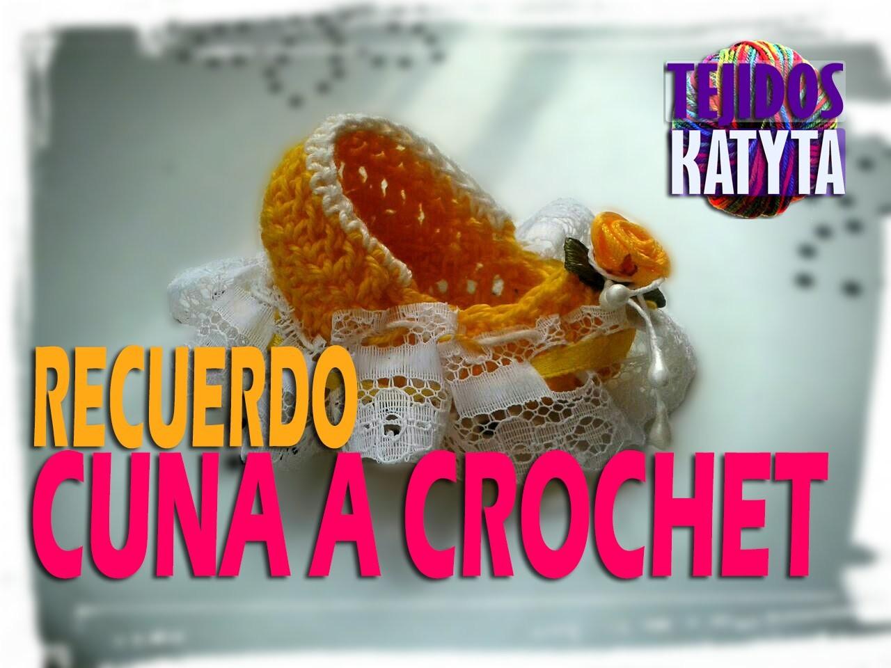 Recuerdo Bautizo o Baby Shower - Cuna De Bebe a Crochet