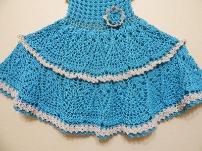 Vestido Olanes para Niña Crochet  parte 2 de 3