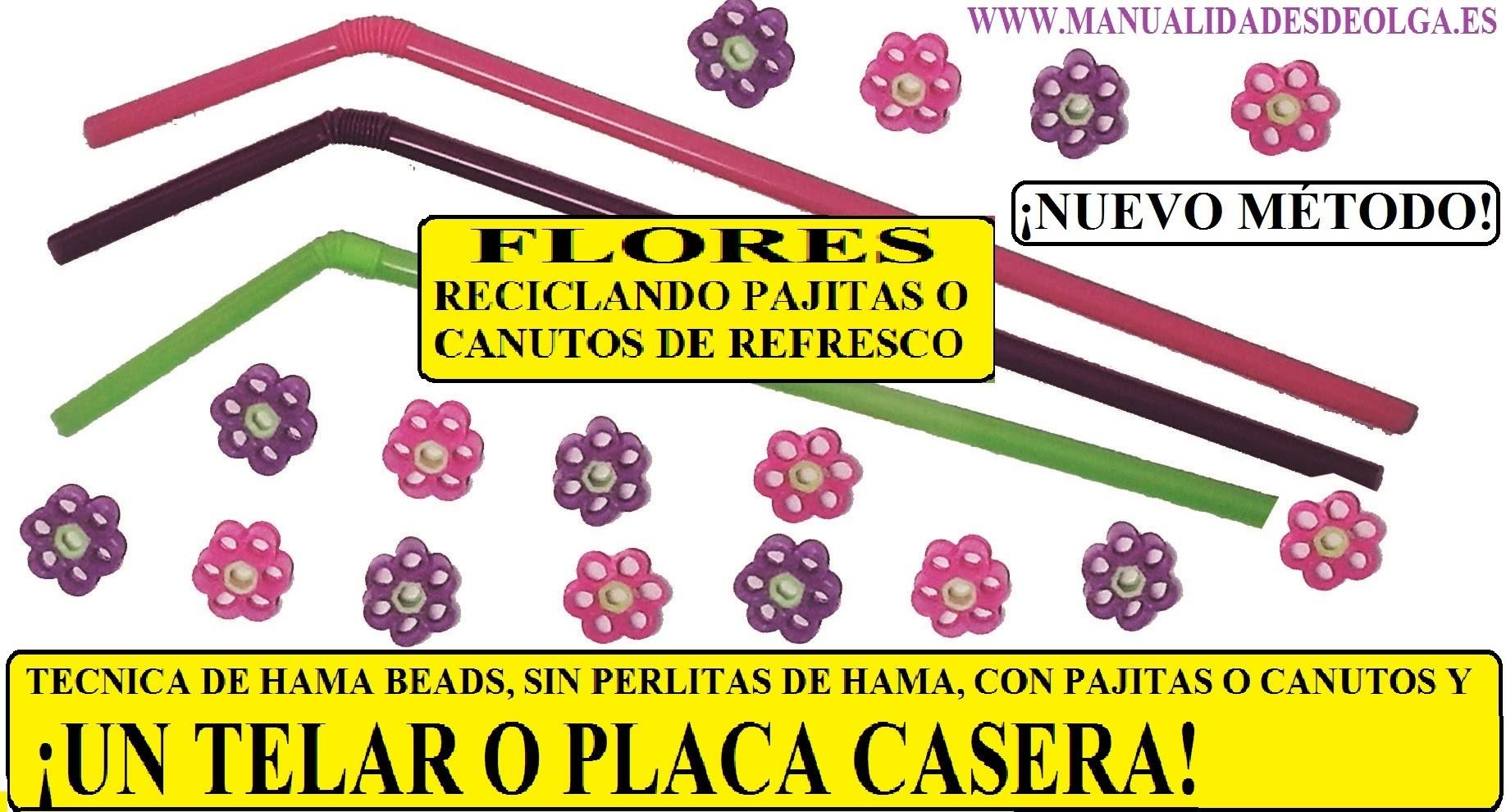 ¡NUEVO MÉTODO!. telar o placa casera para utilizar pajitas como hama beads y hacemos una flor