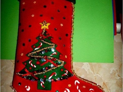 Bota Navideña con relieves escarchados - , Christmas Crafts