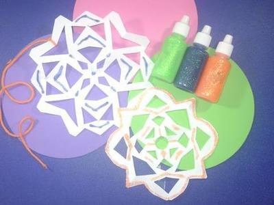 Como hacer  copos de nieve de colores