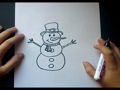Como dibujar un muñeco de nieve paso a paso 2 | How to draw a snowman 2