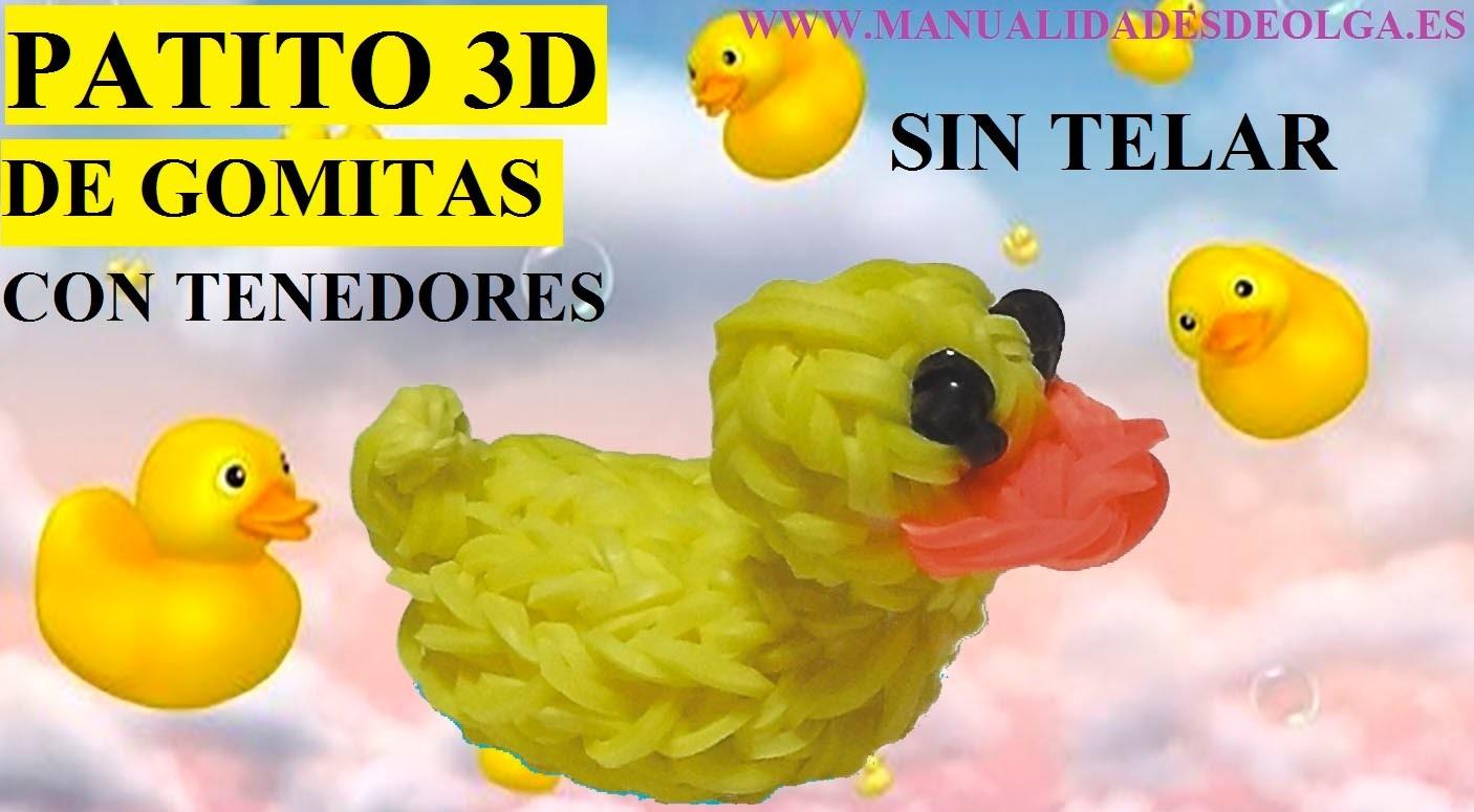 COMO HACER UN PATITO 3D DE GOMITAS SIN TELAR, TUTORIAL CON TENEDORES
