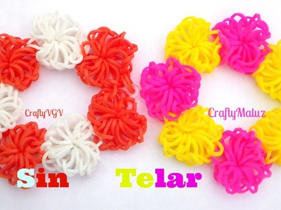 Como hacer una pulsera de gomitas flores de clavel sin telar!