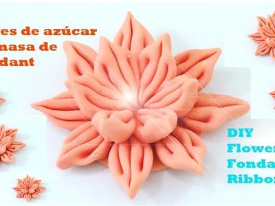 DIY flores de azúcar en cintas de masa fondant flowers fondant ribbons